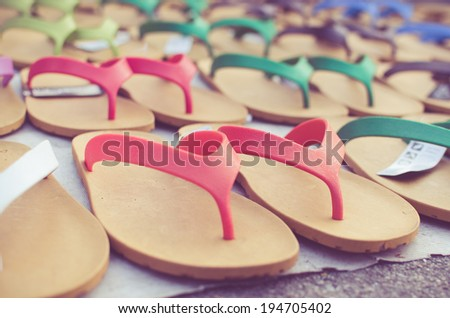 flip flop sandals retro style. - stock photo
