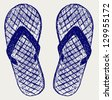 Flip-flops. Doodle style. Raster version - stock photo