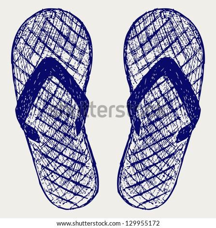 Flip-flops. Doodle style. Raster version - stock photo