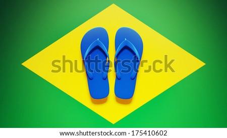 Flip Flops High Resolution Brazil Flag - stock photo