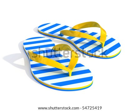 Flip flops isolated on a white background - stock photo