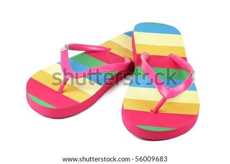 flip flops isolated on white background - stock photo