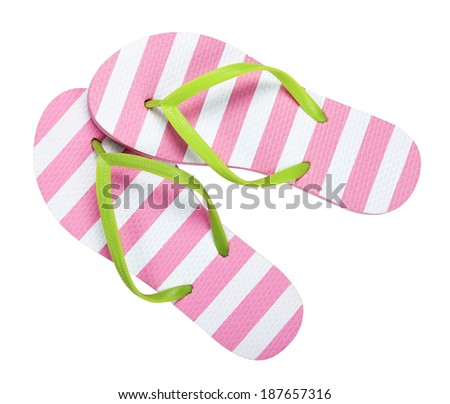 Flip flops isolated on white background. Top view  - stock photo