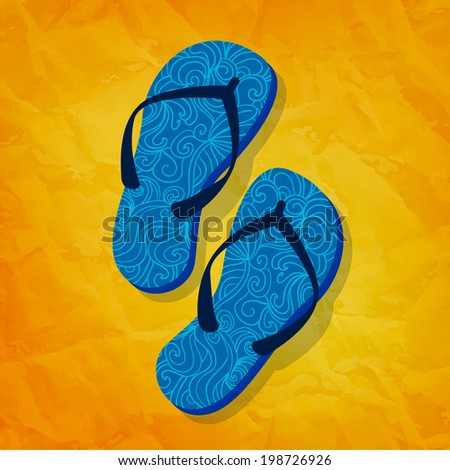 Flip flops on sunny background. Greeting card. Summer holidays concept - stock photo