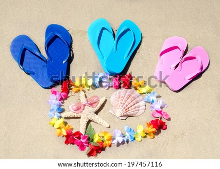Flip flops, seashell and starfish on the sandy beach