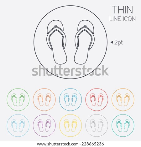 Flip-flops sign icon. Beach shoes. Sand sandals. Thin line circle web icons with outline. - stock photo