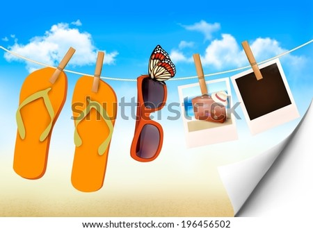 Flip flops, sunglasses and photo cards hanging on a rope. Summer memories background. Raster version. - stock photo