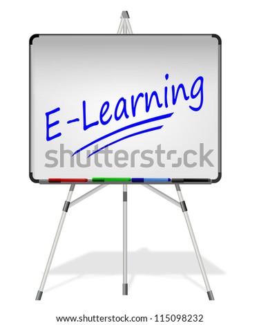 Flipchart E-Learning - stock photo