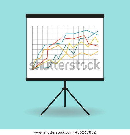 Flipchart, whiteboard or projection screen with marketing data. Flat design. - stock photo