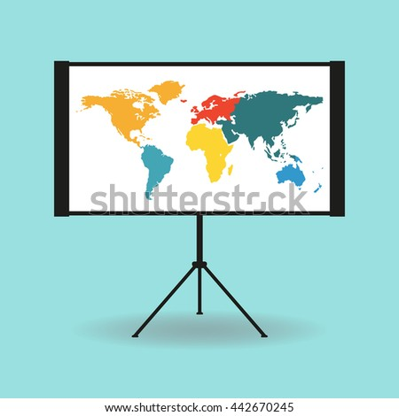 Flipchart whiteboard projection screen world map stock illustration flipchart whiteboard or projection screen with world map flat design gumiabroncs Image collections