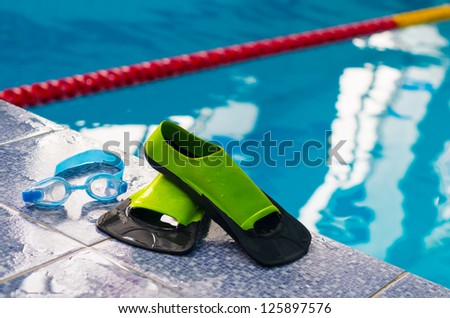 flippers and goggles - stock photo