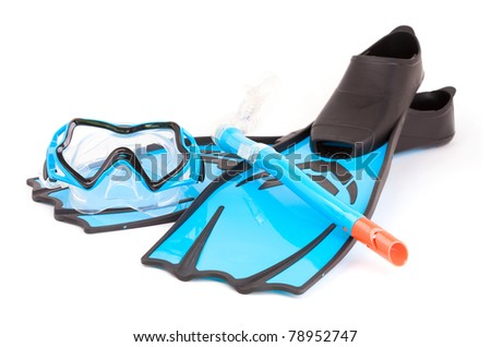 Flippers, glasses and snorkel isolated on white background