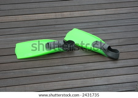 Flippers on Woden Deck - stock photo