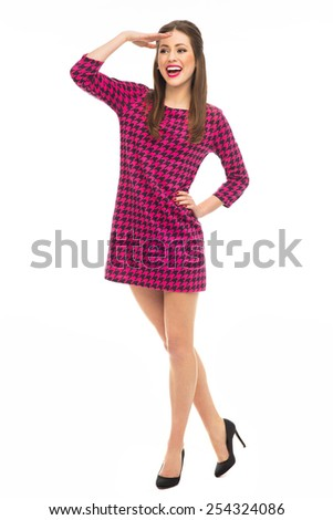 Flirty pin-up girl posing - stock photo