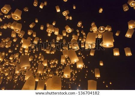 Float Yi Peng Lantern Festival in Chiang Mai in Thailand. - stock photo