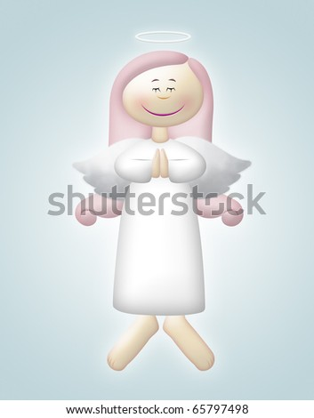 Floating angel with pink hair praying. - stock photo