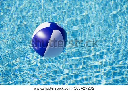 Swimming Pool Beach Ball Background summer love beach ball on swimming stock photo 128760851