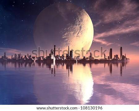 Floating Futuristic Cities in Alien Ocean - stock photo