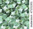 floating hundred euro bills - stock photo
