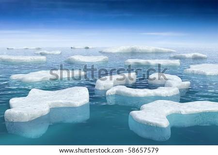 Floating ice - stock photo