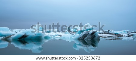 Floating ice on Jokulsarlon Glacier Lagoon, Iceland - stock photo