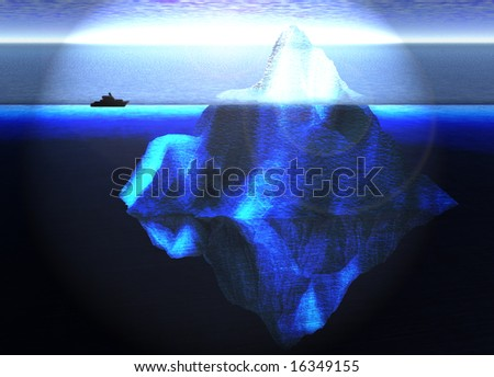 Floating Iceberg in the Open Ocean with Small Boat Nearby Illustration - stock photo