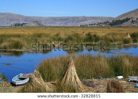 floating islands - lake titicaca - stock photo