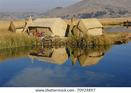 Floating islands, lake Titicaca and surroundings - stock photo