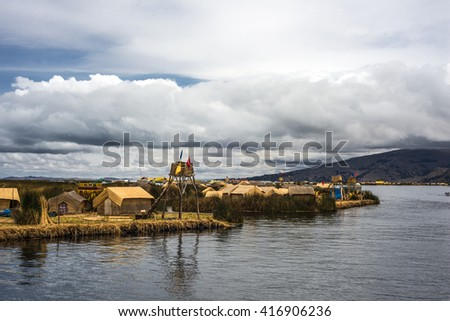 Floating Islands on the Lake Titicaca, Puno, Peru, South America - stock photo
