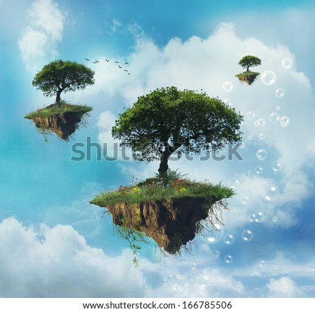 Floating islands with trees in the sky - stock photo