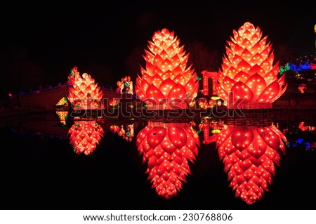 Floating lantern at night - stock photo