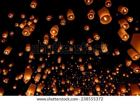 Floating lantern, Yi Peng Balloon Festival in Chiangmai Thailand  - stock photo
