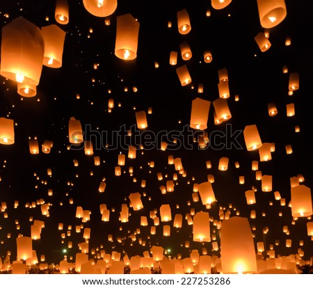 Floating lanterns festival or Yeepeng ceremony, traditional Lanna Buddhist ceremony in Chiang Mai, Thailand