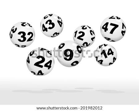 floating lottery balls as metaphor for lottery - stock photo