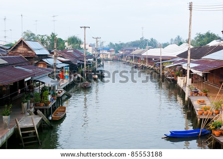 Floating market at Samutsongkram province in the morning , Thail
