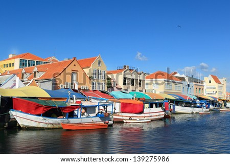 Floating market at willemstad-curacao - stock photo