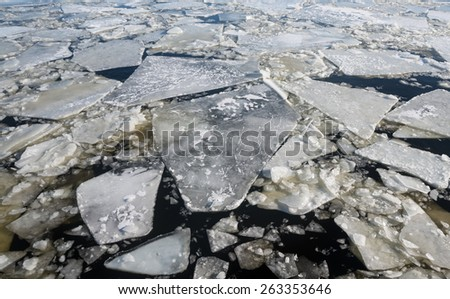 Floating of ice on the river .