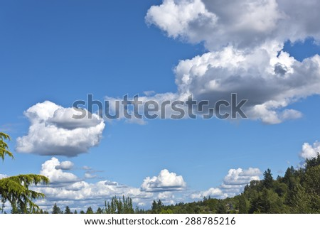 Floating puffy clouds sparsed on the sky in Oregon. - stock photo