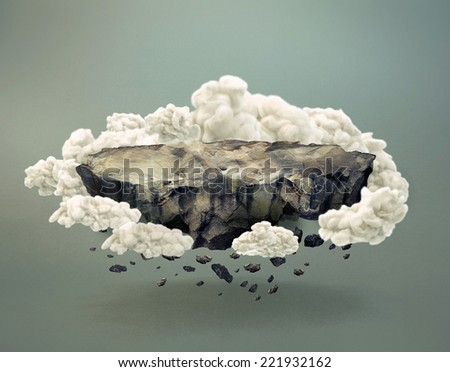Floating rock surface with crumbling stones with clouds  - stock photo