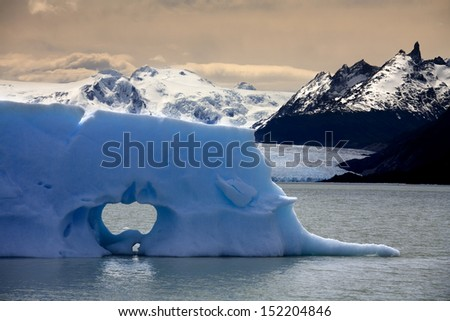 Floating sea ice near the San Rafael Glacier (in background) in Patagonia in Southern Chile - stock photo