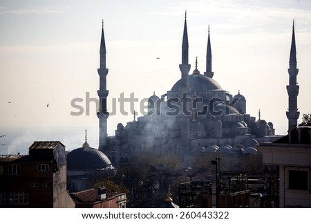 Floating ship with tourists and beautiful view of Instanbul city, Turkey - stock photo