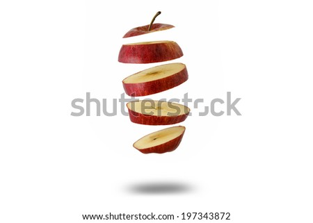 floating sliced apple - stock photo