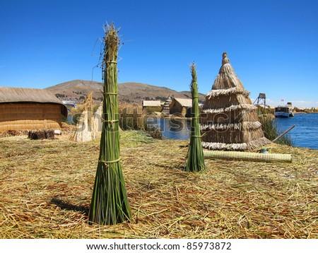 Floating Uro Islands on Lake Titicaca, near Puno, Peru - stock photo