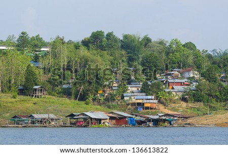 floating village in Kanchanaburi Province, Thailand - stock photo