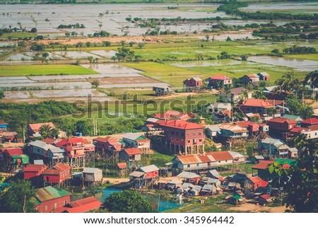 Floating village Phnom Krom, Siem Reap, Cambodia  - stock photo