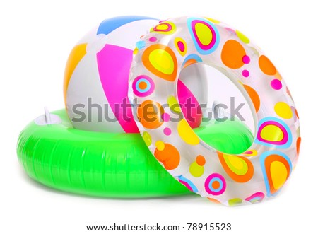 Floating water toys isolated on white background - stock photo