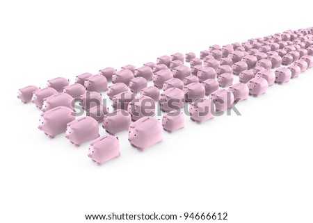 Flock of many pink piggy banks running away