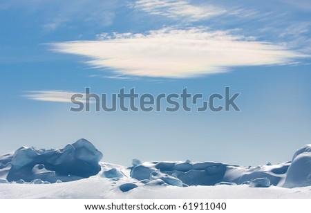 floe against blue sky - stock photo