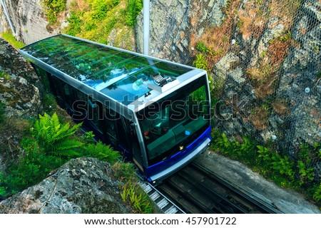 Floibanen funicular to Mt Floyen at Bergen City,  from Top of Mount Floyen Glass Balcony Viewpoint mountain in Norway - stock photo