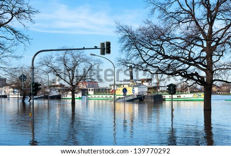 Flood at Dresden - stock photo